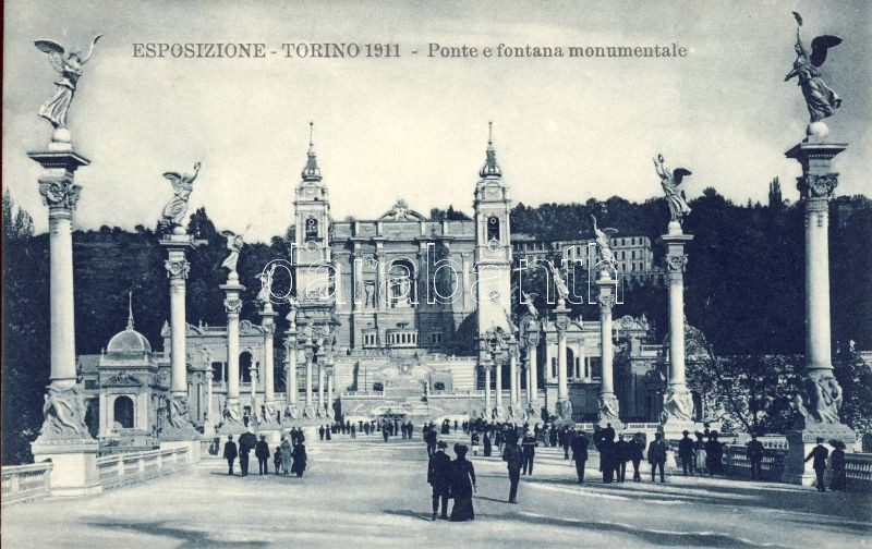 1911 Turin, Torino; Expo, Ponte, Fontana monumentale / bridge, fountain