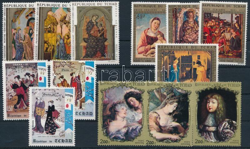 1970-1972 Paintings 13 stamps, 1970-1972 Festmény motívum 13 klf bélyeg, közte sorok