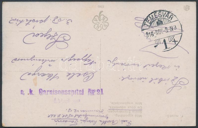 """Field post postcard """"K.u.k. Garnisonsspital Nr.21."""" + """"TEMESVÁR"""", Tábori posta képeslap """"K.u.k. Garnisonsspital Nr.21."""" + """"TEMESVÁR"""""""