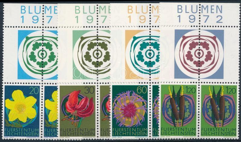 Native flowers (III) set, Őshonos virágok (III) sor ívszéli 2 szelvényes párokban, ívszél felirattal