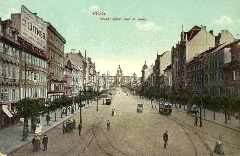 Praha, Prag; Wenzelsplatz, Museum / square, museum, trams
