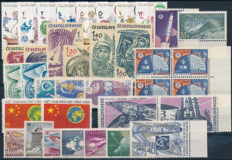 1957-1971 Űrkutatás motívum 36 db bélyeg, közte teljes sorok, összefüggések, 1957-1971 Space Exploration 36 stamps with sets
