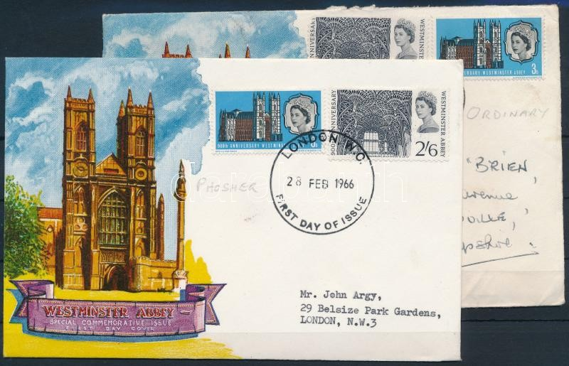 700th anniversary of Westminster Abbey 2 FDC, 700 éves a Westminster-apátság 2 db FDC-n
