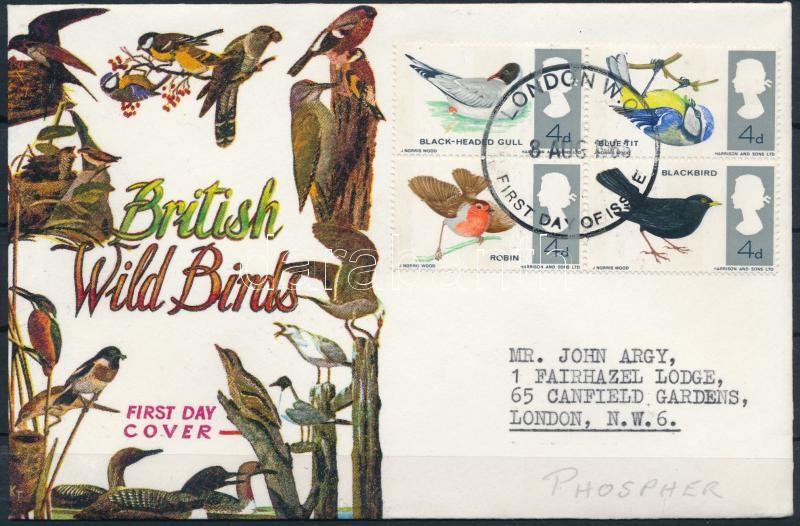 Bird block of 4 FDC, Madár négyestömb FDC-n