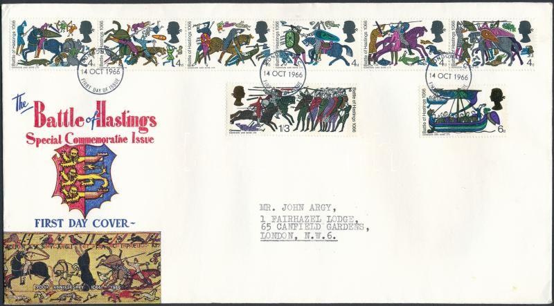 900th Anniversary of the Battle of Hastings set FDC, A hastingsi ütközet 900. évfordulója sor FDC-n