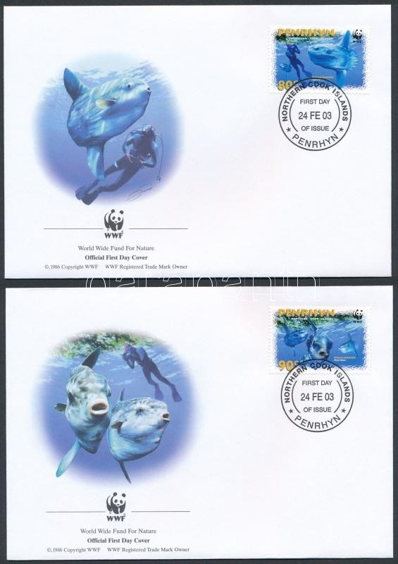 WWF: Sun Fish set on 4 FDC, WWF: Naphal sor 4 db FDC-n