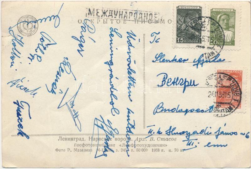 Magyar válogatott birkózók által aláírt és hazaküldött lap Leningrádból Páger Antal, Hollósi Géza,  Reznák János és még mások. Lap gyűrt