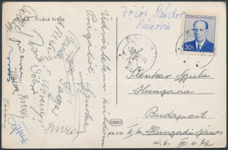 Magyar válogatott birkózók és cselgáncsozók által aláírt és hazaküldött lap Leningrádból Páger Antal, Hollósi Géza,  Reznák János, Növényi  és még mások.