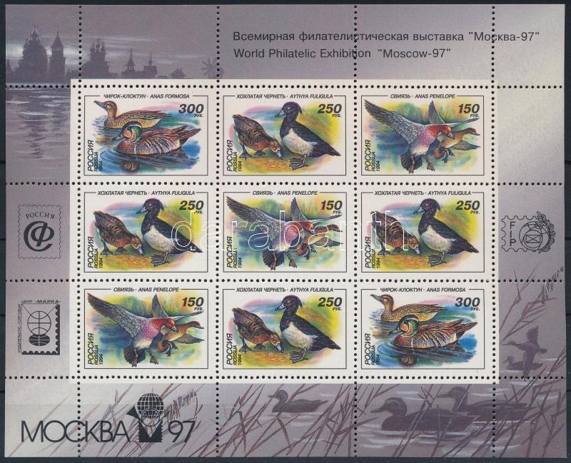 Ducks Stamp Exhibition mini sheet with overprint, Kacsa bélyegkiállítás felülnyomással kisív