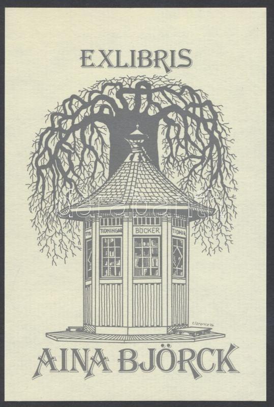 Clarence Bergquist (?-?): Fa bódéval, klisé, papír, 12x8 cm.