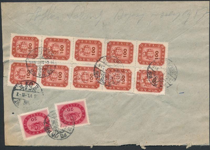 Inflation cover, (18. díjszabás) Ajánlott hely levél Milpengős 100mP tizestömbbel + Milliós 2x20mP bérmentesítéssel (szétnyitott boríték)
