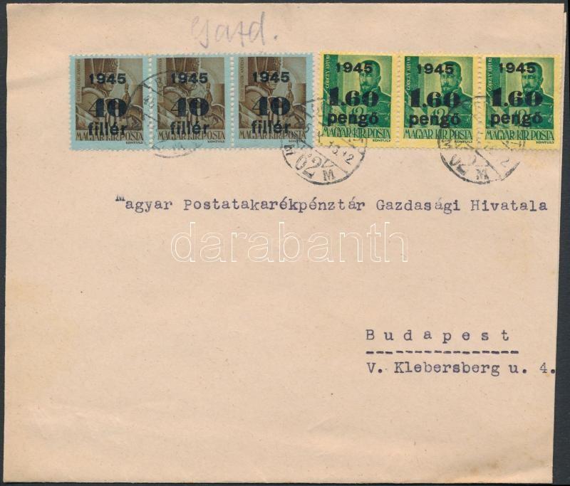 Inflation cover, (3. díjszabás) Helyi levél Kisegítő 40f/10f hármascsíkkal + 1,60P/12f hármascsíkkal bérmentesítve (szétnyitott boríték)