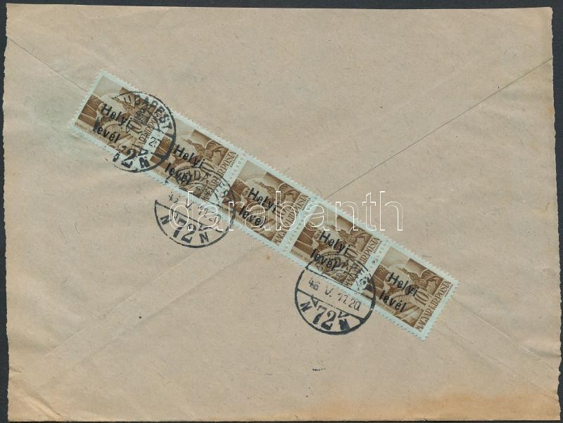 Inflation cover, (15. díjszabás) Helyi levél Betűs Helyi levél/ 10f ötöscsíkkal bérmentesítve (szétnyitott boríték)