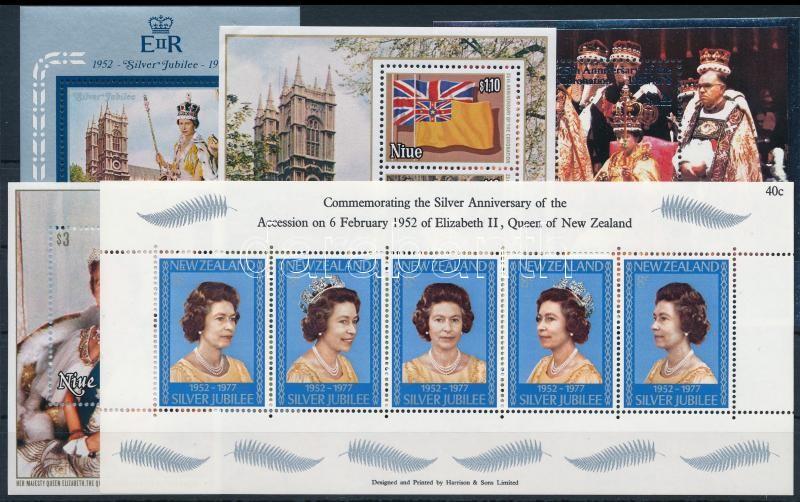 Queen Elizabeth II. 5 blocks, II. Erzsébet királynő motívum 5 klf tengerentúli blokk