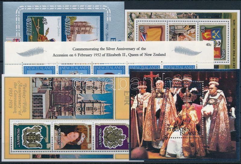 II. Erzsébet királynő motívum 5 klf tengerentúli blokk, Queen Elisabeth II. 5 blocks