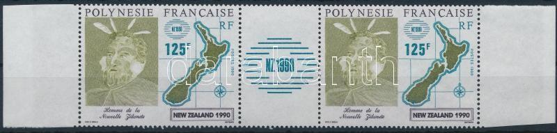New Zealand Stamp Exhibition pair with coupon, New Zealand bélyegkiállítás szelvényes pár