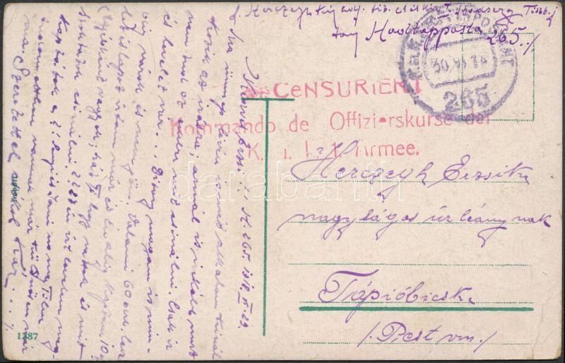 "Austria-Hungary field postcard, Tábori posta képeslap ""Kommando de Offizierskurse der K.u.k. 1. Armee"" + ""EP 265"""