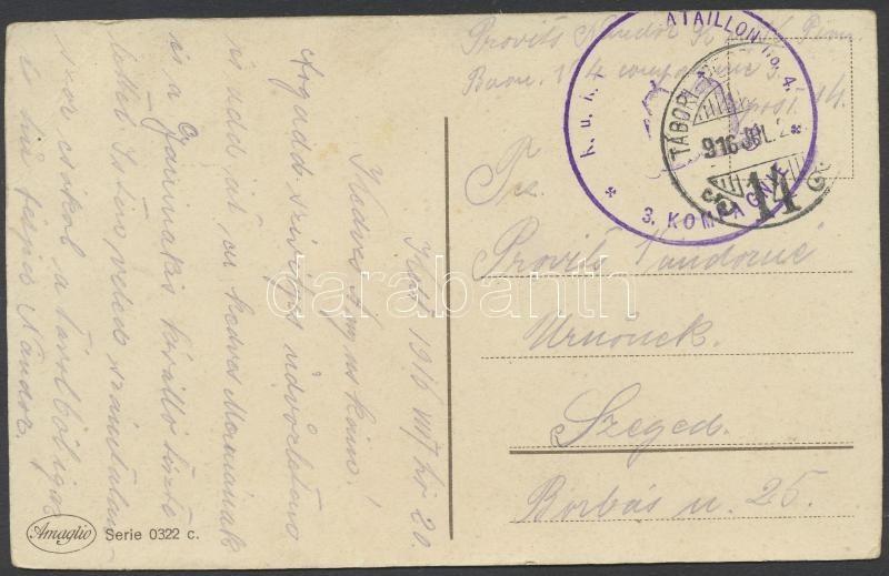 "Austria-Hungary Field postcard, Tábori posta képeslap ""K.u.k. PIONIERBATAILLON No.4. / 3. KOMPAGNIE"" + ""TP 14"""