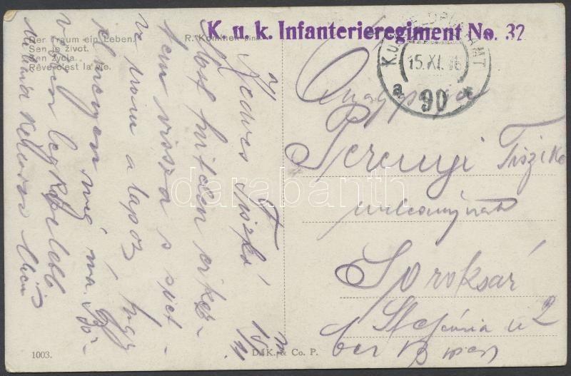 "Austria-Hungary Field postcard, Tábori posta képeslap ""K.u.k. Infanterieregiment No. 32."" + ""FP 90 a"""