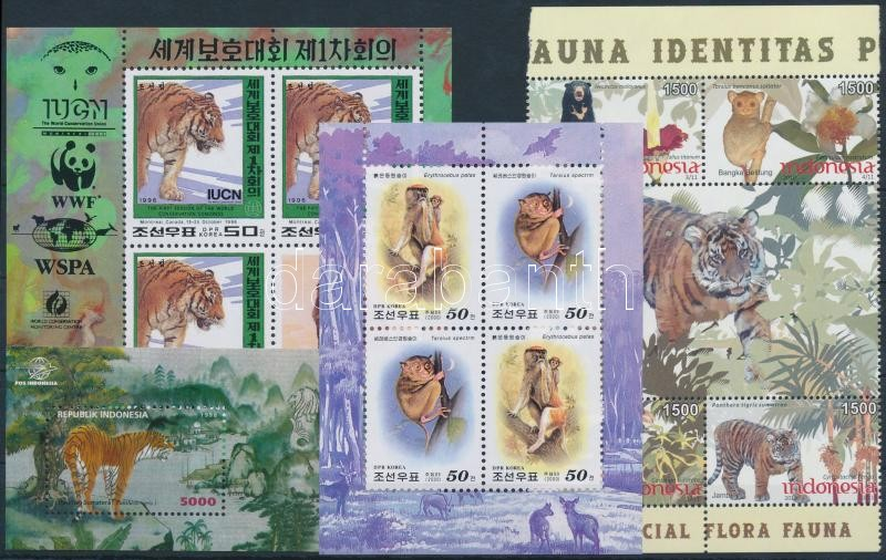 1996-2010 Tigris motívum 2 klf kisív + 2 klf blokk, 1996-2010 Tiger 2 mini sheets + 2 blocks
