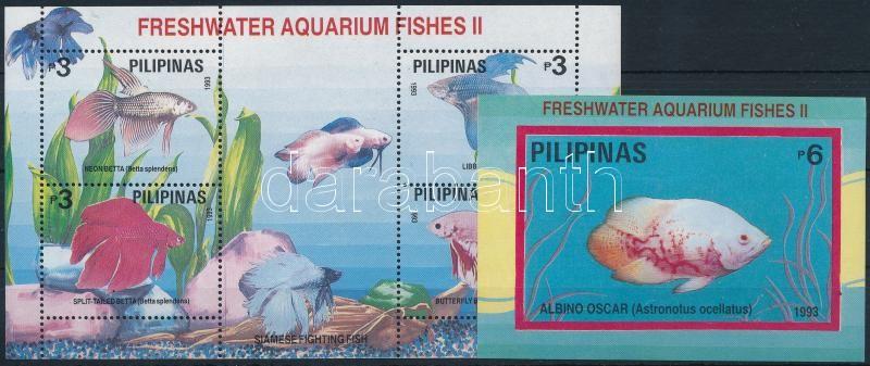 Fish, Bangkok stamp exhibition blockpair with overprint, Halak, bangkoki bélyegkiállítás felülnyomással blokkpár