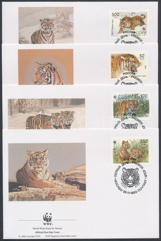 WWF Siberian tiger set 4 FDC, WWF: Szibériai tigris sor 4 db FDC-n