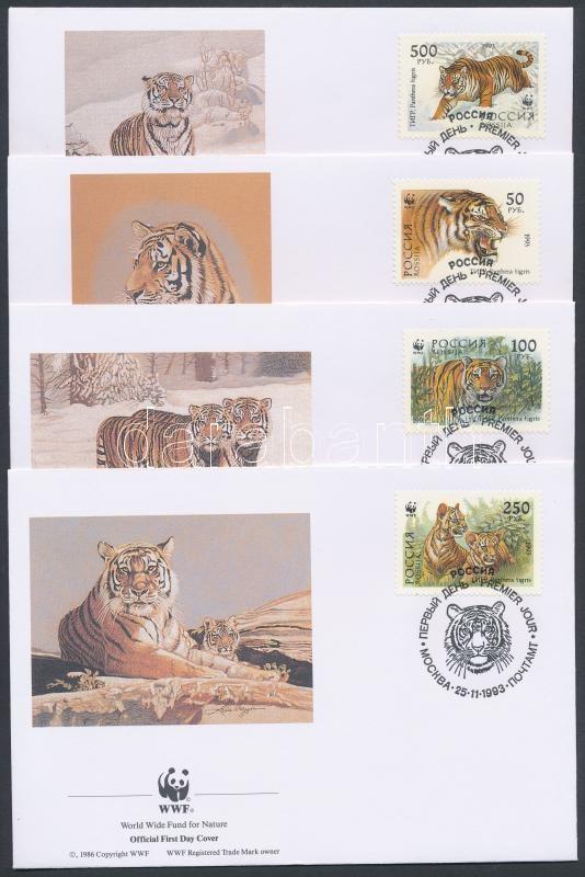 WWF: Siberian Tiger set on 4 FDC, WWF: Szibériai tigris sor 4 db FDC-n
