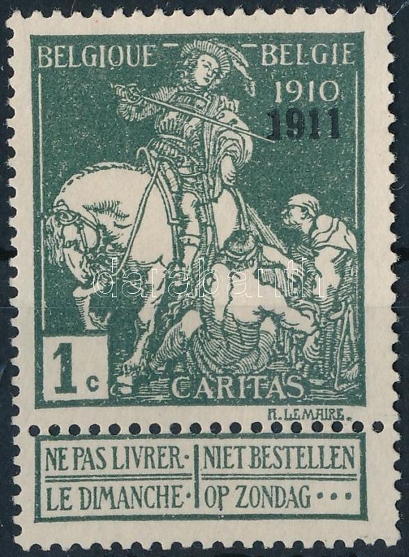 """Fight against Tuberculosis stamp with tab with """"1911""""  overprint, Tuberkulózis elleni küzdelem tabos bélyeg """"1911"""" felülnyomással"""