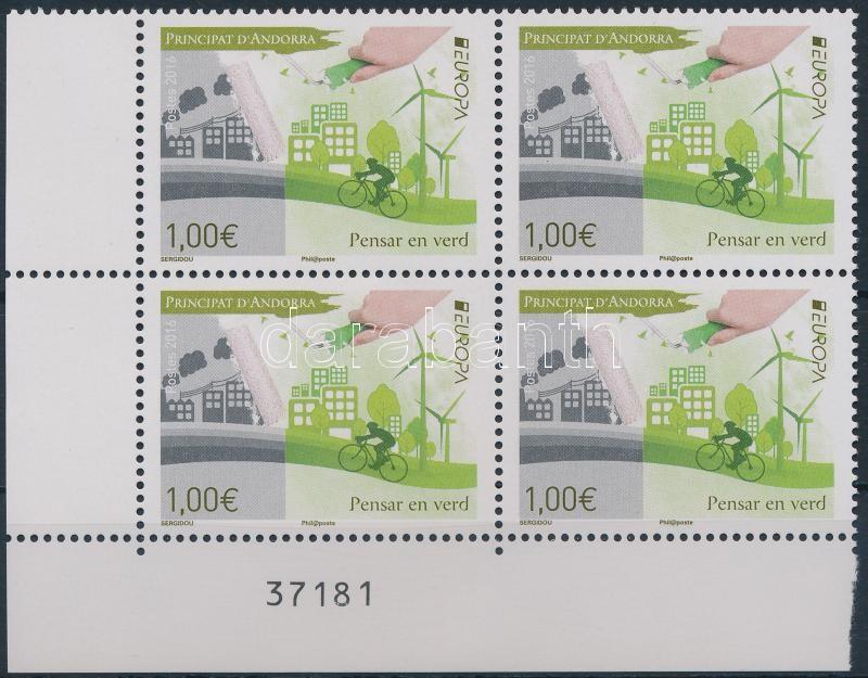 Europa CEPT, Green living corner block of 4, Europa CEPT, Környezettudatos életmód ívsarki 4-es tömb