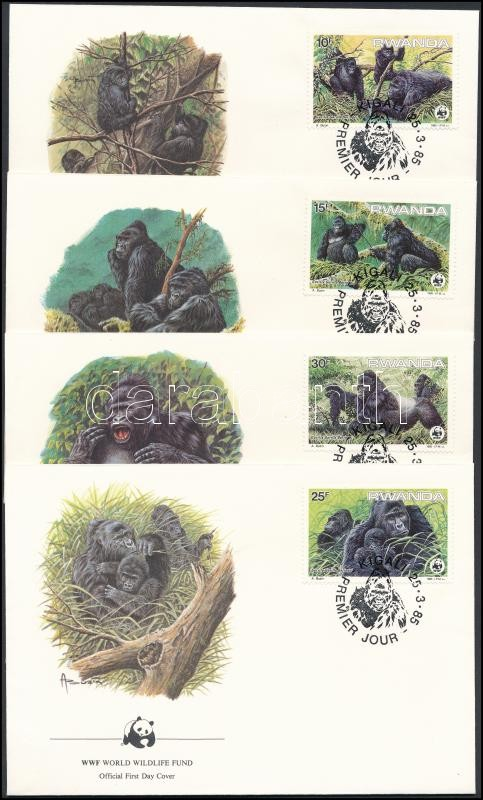 WWF Mountain Gorilla set on 4 FDC, WWF Hegyi gorilla sor 4 db FDC-n