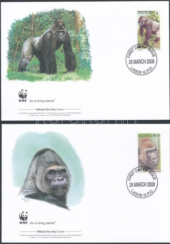 WWF: Mountain gorilla set on 4 FDC WWF: Hegyi gorilla sor 4 db FDC-n