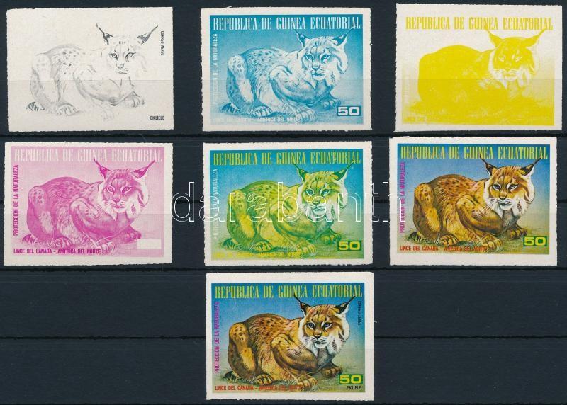 North American animals : Lynx 6 color-proof + issued stamp, Észak-Amerika állatai: Hiúz 6 klf színpróba + a megvalósult bélyeg