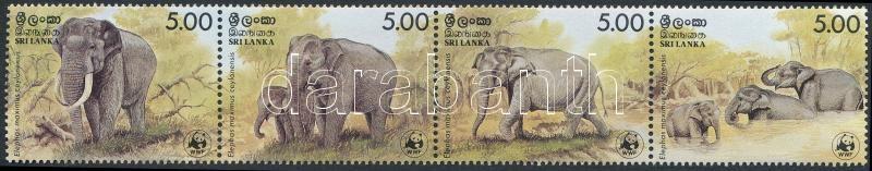 WWF: Elephant stripe of 4, WWF: Elefánt négyescsík