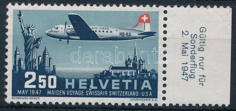 Swissair's first flight margin stamp, Swissair első repülése ívszéli bélyeg