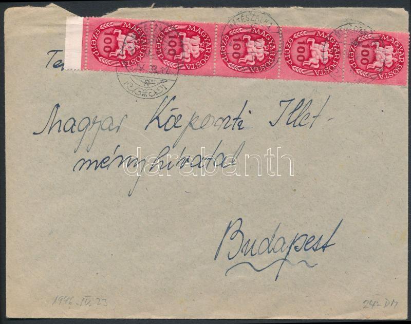 Inflation cover, (13. díjszabás) Távolsági levél Lovasfutár 100ezerP ívszéli ötöscsíkkal bérmentesítve