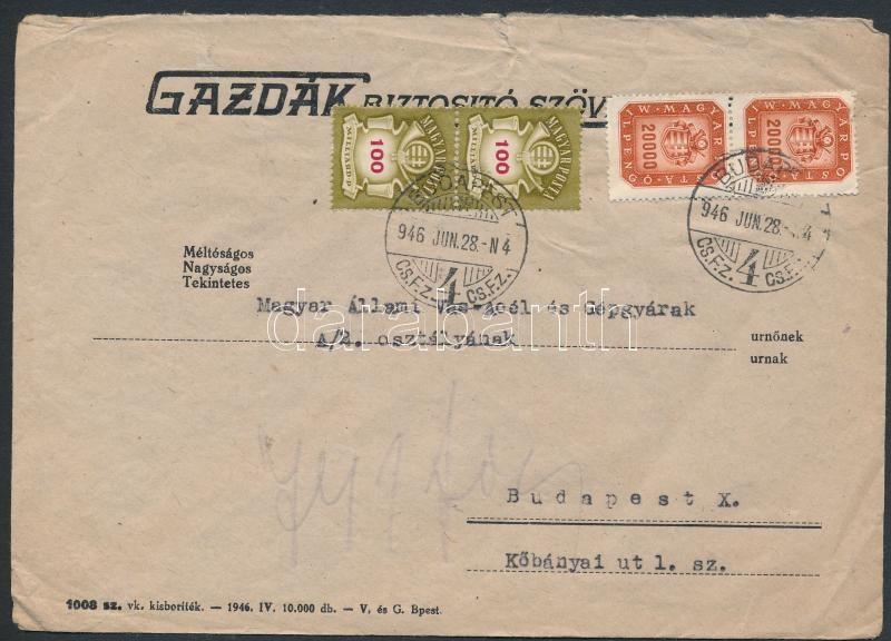 Inflation cover, (21. díjszabás) Helyi levél Milpengős 20000mP pár + Milliárdos 100mdP pár bérmentesítéssel (gyűrött, sérült boríték)