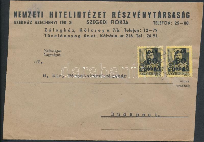 Inflation cover, (5. díjszabás) Távolsági levél Kisegítő 2x60P/18f párral bérmentesítve (borítéké szétnyitva)