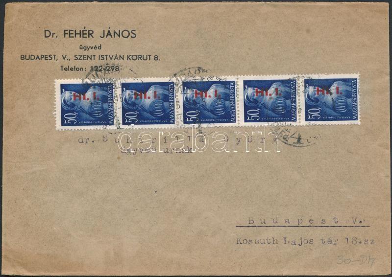 Inflation cover, (7. díjszabás) Helyi levél Betűs 5xHl.I./50f bérmentesítéssel