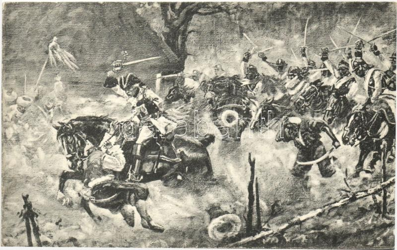 Siegreiche Attacke der Savoyendragoner am Altschantzpass 1788, Verlag K. Hahn / victorious attack of the dragoners, Savoyen-dragoner győztes támadása
