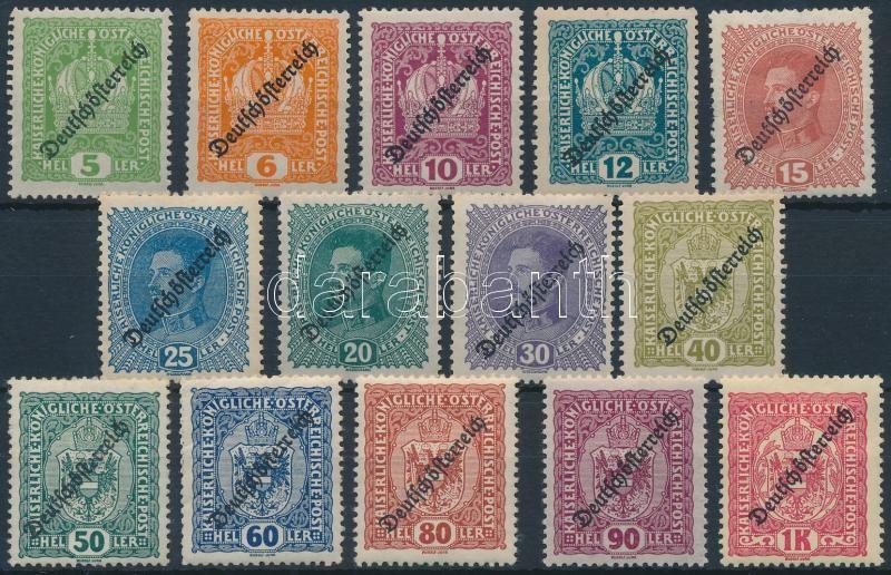 Definitive 14 stamps (hinged, Mi 228 missing), Forgalmi 14 érték felülnyomással (betapadás, Mi 228 hiányzik / missing)
