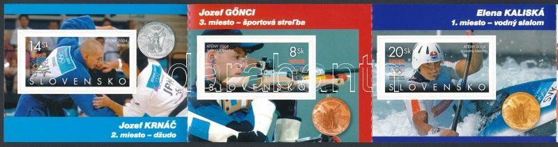 Athens Olympics medalists self-adhesive stamp booklet, Az athéni olimpia érmesei öntapadós bélyegfüzet