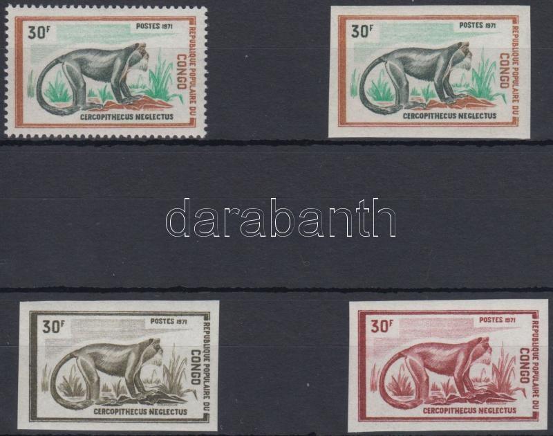 Monkey perf and imper stamp + 2 imperf Color proof, Majom fogazott és vágott bélyeg + kétféle vágott színpróba