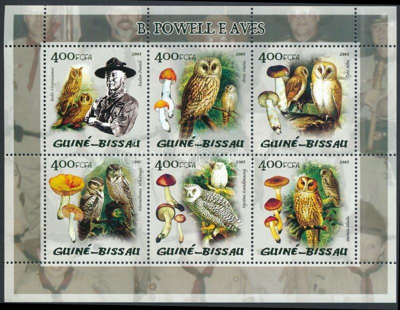 Owls, mushrooms, Baden-Powell minisheet, Baglyok, gombák, Baden-Powell kisív