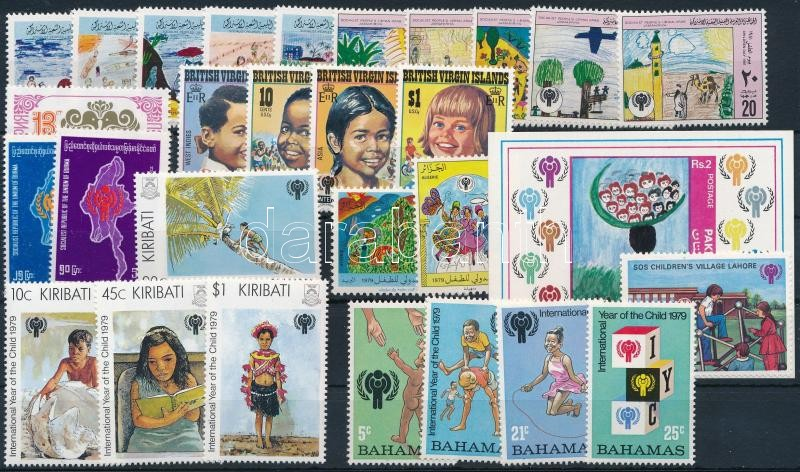 International Children Year 1979-1981 28 diff stamps with sets + 3 diff blocks, Nemzetközi Gyermekév 1979-1981 28 klf bélyeg, közte sorok + 3 klf blokk 2 stecklapon