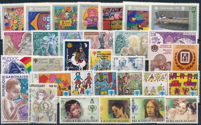 International Children Year 1979-1981 32 diff stamps with sets + 1 block, Nemzetközi Gyermekév 1979-1981 32 klf bélyeg, közte sorok + 1 blokk 2 stecklapon