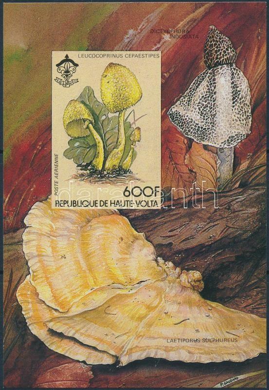 Mushroom and Flower imperf block, Gomba és virág blokk vágott