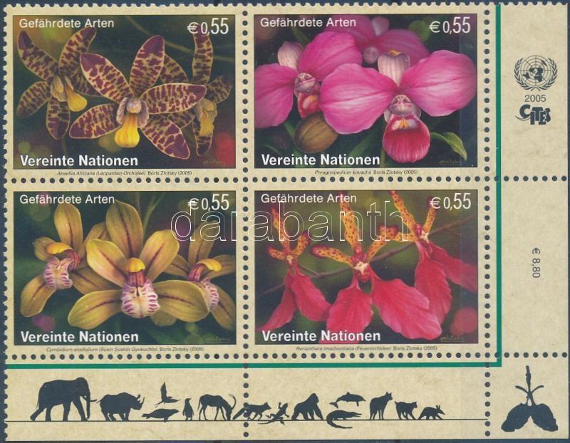 Endangered flowers block of 4, Veszélyeztetett virágok négyestömb