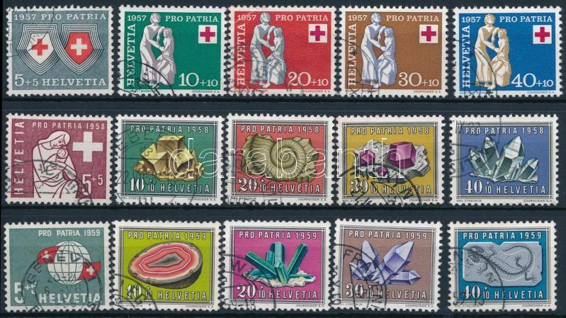 1957-1959 3 klf Pro Patria sor, 1957-1959 3 diff Pro Patria set