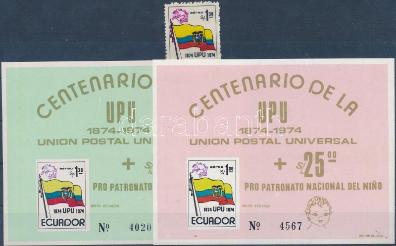 UPU Centenary stamp + 2 blocks, 100 éves az UPU bélyeg + 2 db blokk