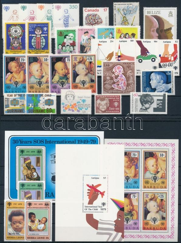 International Children Year 31 diff stamps + 3 diff blocks, Nemzetközi Gyermekév 31 klf bélyeg + 3 klf blokk 2 stecklapon
